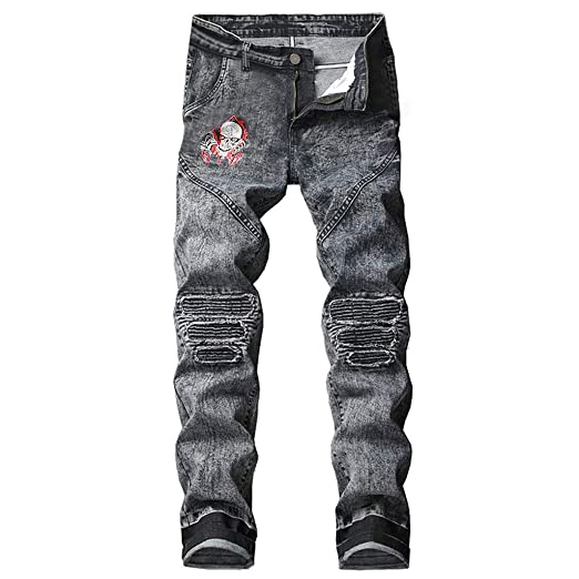 4f63a8d6c662 NUWFOR Men's Stretchy Ripped Skinny Biker Jeans Destroyed Taped Slim Fit Denim  Pants(Black,