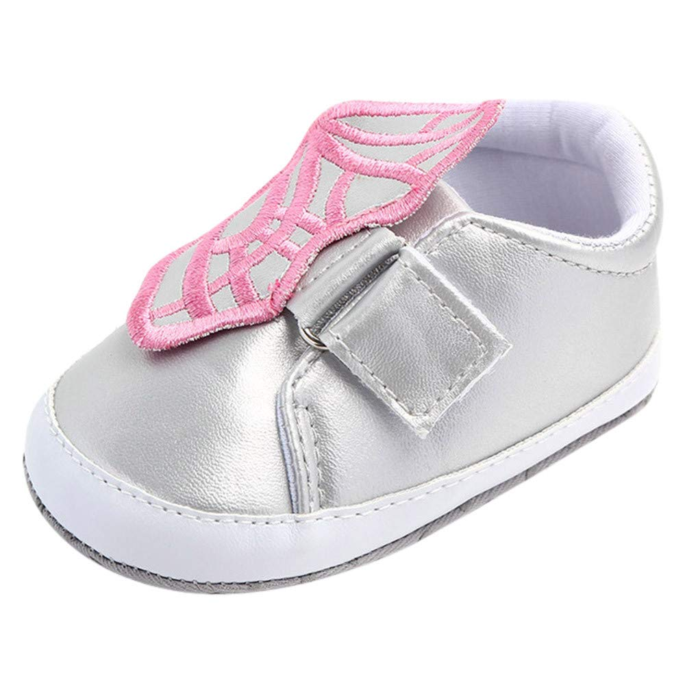 NUWFOR Cute Baby Girls Newborn Infant Baby Butterfly Casual First Walkers Toddler Shoes(Silver,6-9Months)
