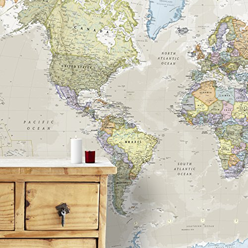 Giant World MegaMap Mural - Classic - 91 x 62 inches - Map Mural