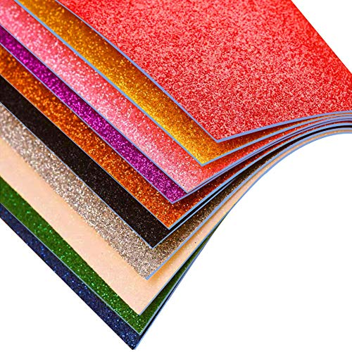 3 otters Glitter Foam Sheet Sparkles Self Adhesive Sticky, 11.8 x 7.8 inches Adhesive Foam Sheets Decorative Craft Paper for DIY Craft Activities, 15 Assorted Colors.