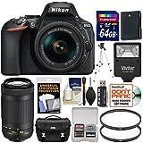 Nikon D5600 Wi-Fi Digital SLR Camera 18-55mm VR & 70-300mm DX AF-P Lenses 64GB Card + Case + Flash + Battery + Tripod Kit