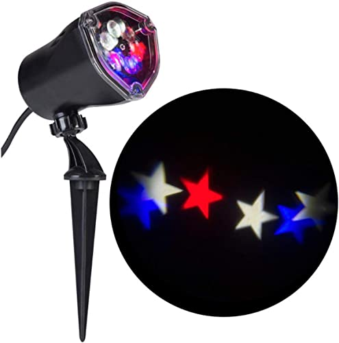 Americana Patriotic Red White Blue Stars Whirl a Motion LED Projector Light for July 4th