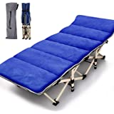 Lilypelle Folding Camping Cot, Double Layer Oxford Strong Heavy Duty Sleeping Cots with Carry Bag, Portable Travel Camp Cots