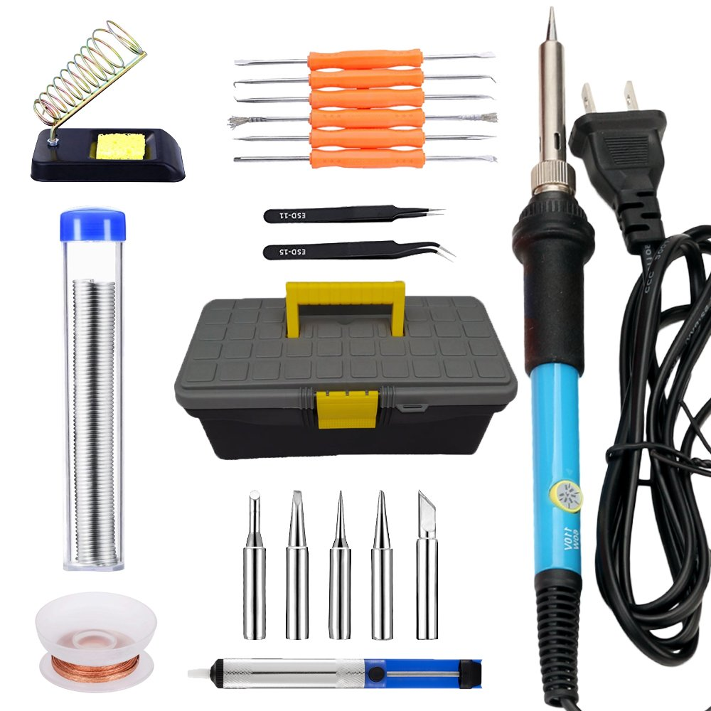 Soldering Iron Kit, 20 in1 60W 110 V-Adjustable Temperature Control Solder Iron, 5pcs Tips, Desoldering Pump, Tweezers, Wick, Wire, Stand with Cleaning Sponge in Portable Toolbox #DNT-029