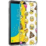 """Cover Samsung J6 2018, Eouine Custodia Cover Silicone Trasparente con Disegni Ultra Slim TPU Silicone Morbido Antiurto 3D Cartoon Bumper Case per Samsung Galaxy J6 2018 5,6"""" Smartphone (Emoji)"""