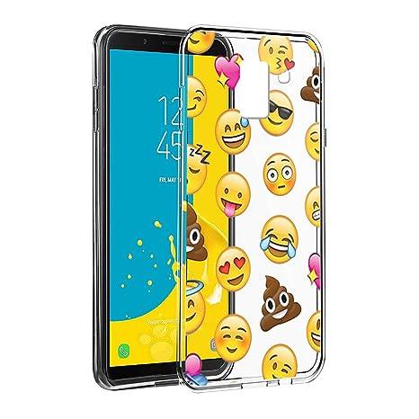 e5eb901db77ec Eouine Coque Samsung Galaxy J6 2018, Etui en Silicone 3D Transparente avec  Motif Fun Fantaisie