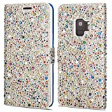 ZCDAYE Galaxy S7 Edge Sparkly Diamond Flip Case,Bling Glitter Magnetic Folio PU Leather Cute Case with [Card Slots] Soft TPU Stand Cover Case for Samsung Galaxy S7 Edge[Silver + Multicolor]