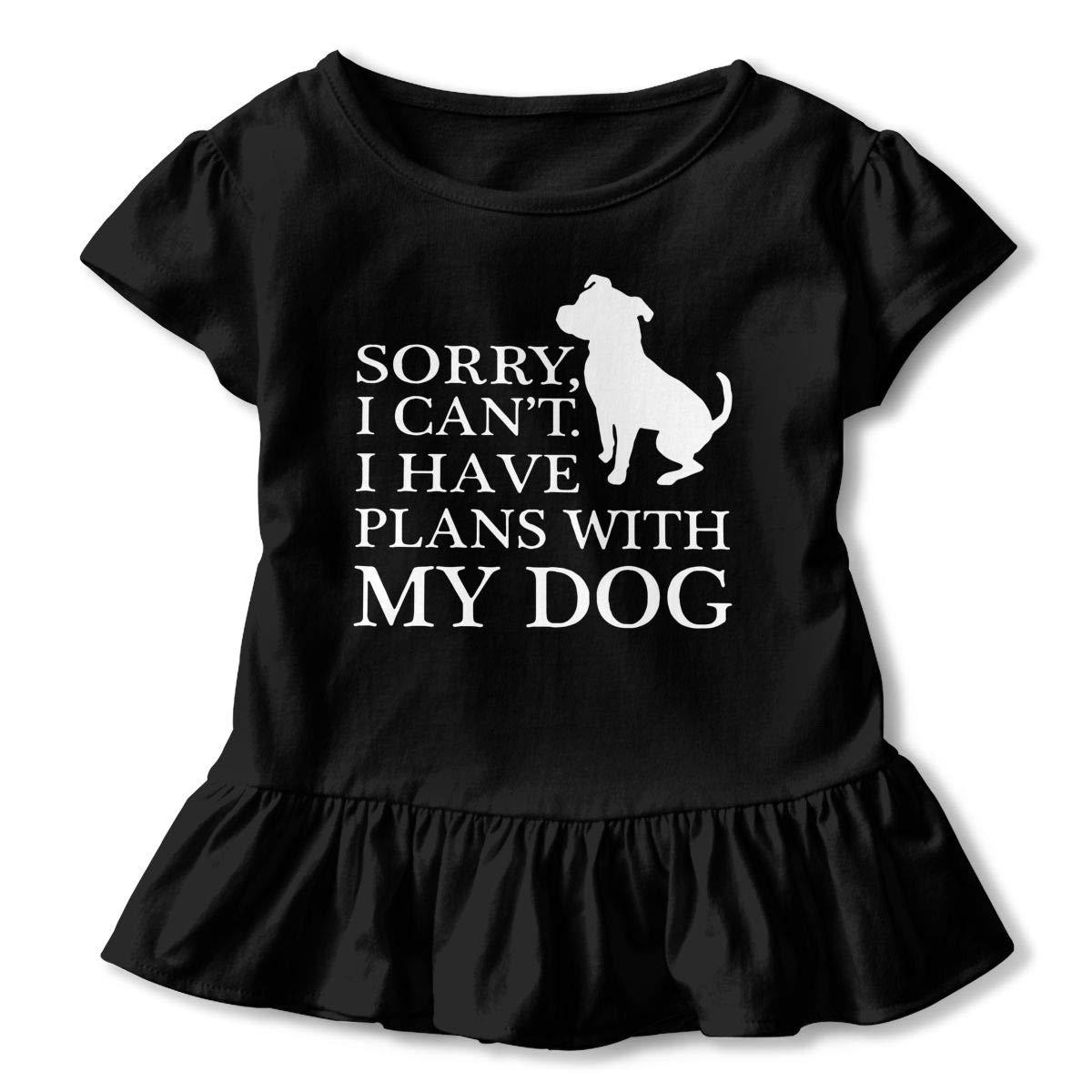 SHIRT1-KIDS My Dog Pitbull Mom Childrens Girls Short Sleeve Ruffles Shirt T-Shirt for 2-6 Toddlers