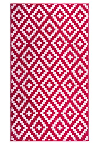 FH Home Indoor/Outdoor Recycled Plastic Floor Mat/Rug - Reversible - Weather & UV Resistant - FH05 - Pink (6 ft x 9 ft) (Rugs Only Outdoor)
