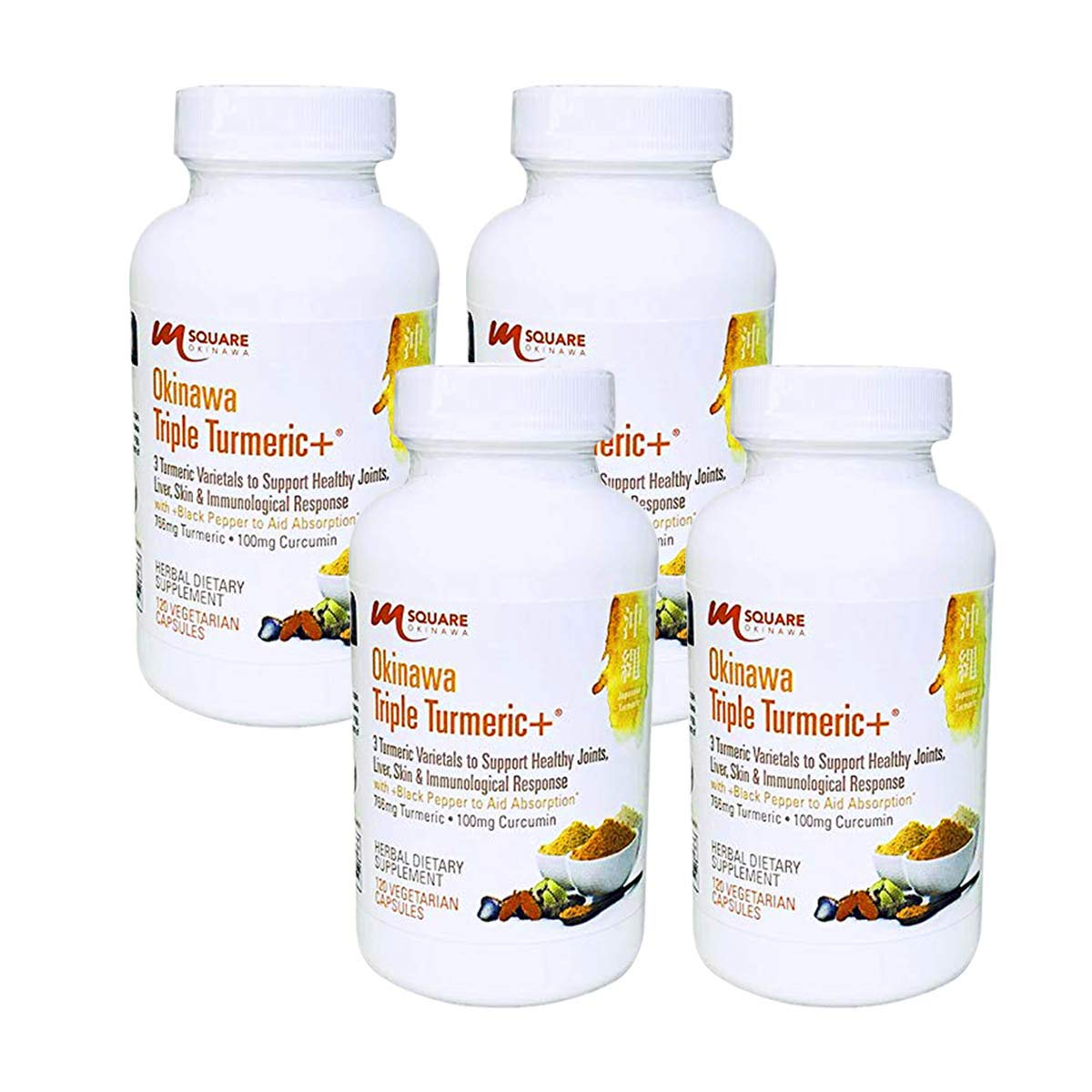 Okinawa Triple Turmeric 3 Turmeric Varietals with Black Pepper to Aid Absorption. 240 Vegetarian Capsules. 4 Bottles