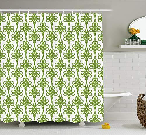 Ambesonne Irish Shower Curtain, Entangled Clover Leaves Twigs Celtic Pattern Botanical Filigree Inspired Retro Tile, Cloth Fabric Bathroom Decor Set with Hooks, 70