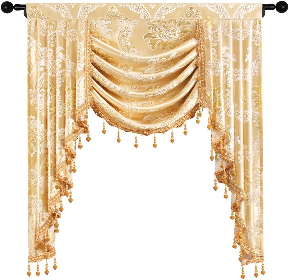 Amazon Com Elkca Golden Jacquard Single Swag Waterfall Valance For Living Room Damask Curtain Valance For Bedroom Damask Golden W39 Inch 1 Panel Home Kitchen