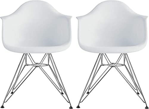 2xhome Set of 2 White Mid Century Modern Vintage Designer Molded Shell Plastic Armchair