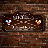 HomeWetBar Billiard Room Personalized Wood Home Sign, Medium Size, for Man Caves, Billiard or Pool Rooms