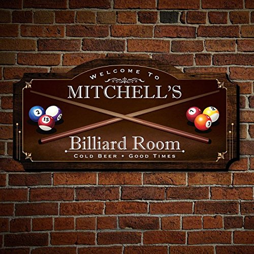 HomeWetBar Billiard Room Personalized Wood Home Sign, Medium Size, for Man Caves, Billiard or Pool Rooms ()