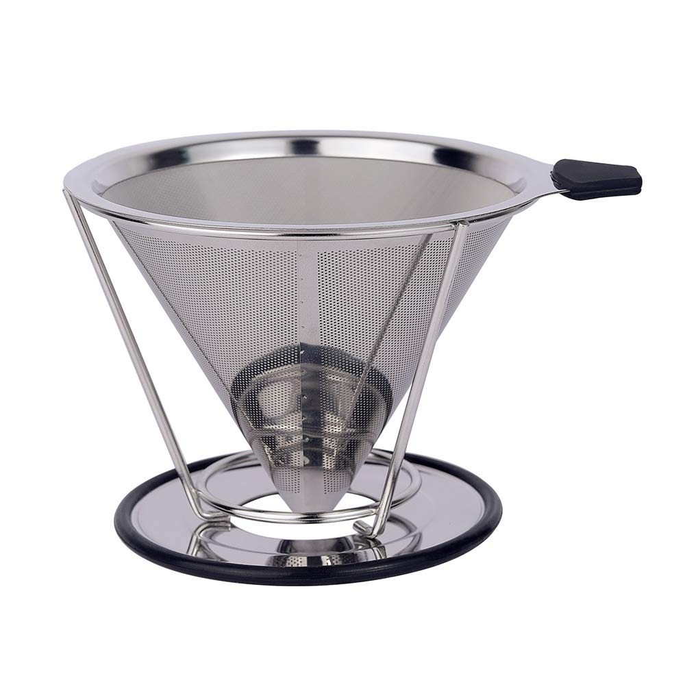 Pour Over Coffee Dripper, GRATU Stainless Steel Coffee Filters Cone with Stand Reusable Paperless Pour Over Coffee Maker for 1-4 Cup by GRATU (Image #5)