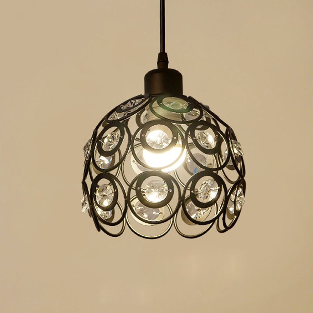 YANCEN Antique Black Metal Crystal Chandelier Lighting Hollow Pendant Light Ceiling Lamp Fixture E26 Bulb Painted Finish for Dining Room Bar Island