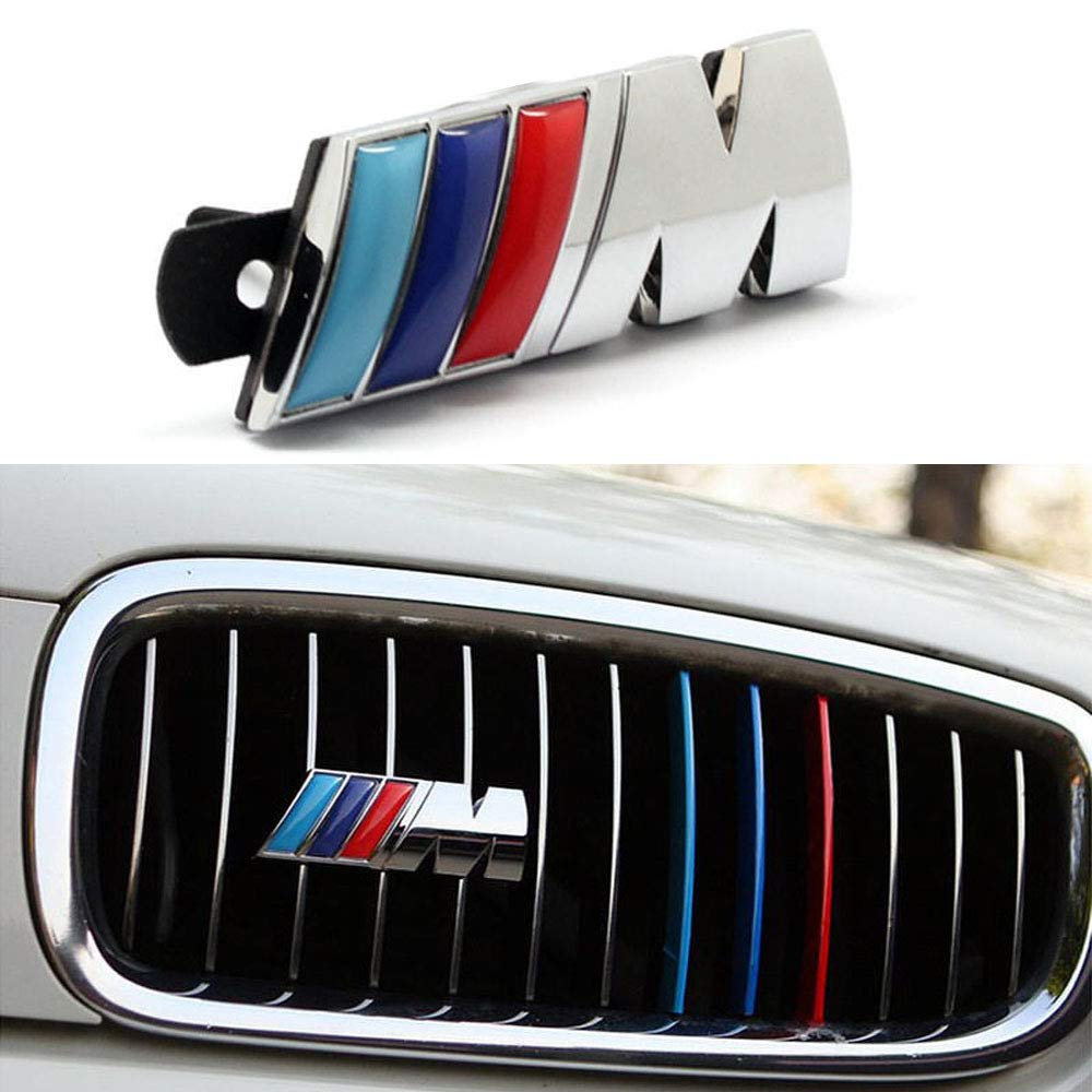 BMW M Front Grille Emblem, 3D Chrome Badge Metal Power Car Fashion Logo for BMW M M3 M5 X1 X3 X5 X6 E30 E34 E36 E39 E46 E60 E90 E92 Enseng