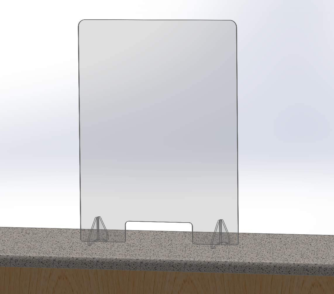 """Desktop Plexiglass Sneeze Guard 24"""" x 32"""" - Clear Countertop Germ Barrier for Sales Checkouts and Offices (24"""" wide x 32"""" tall)"""