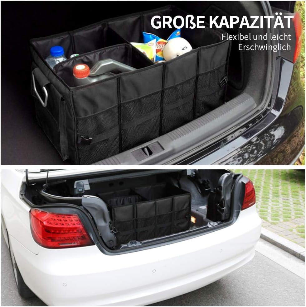Wasserdicht Faltbare Autotasche Kofferraumtasche mit Deckel,tragbare Multi-F/ächer Kofferraum-Organizer Kofferraum Organizer Auto