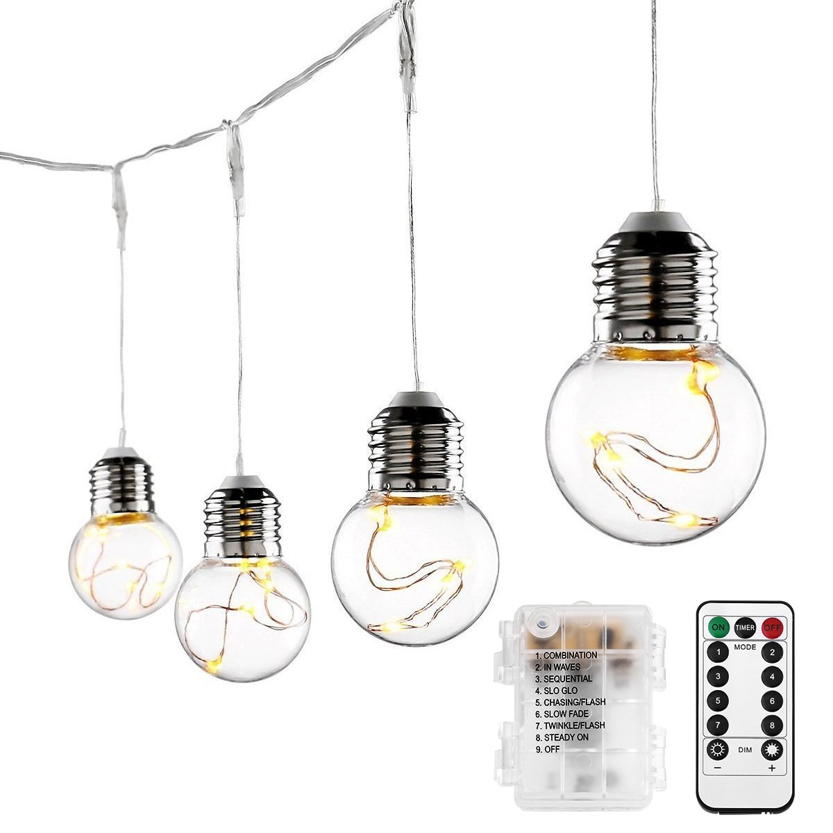 LE 19.69ft/6m LED Globe Copper Wire String Lights Waterproof 25 Units G45 Bulbs Plastic Warm White Indoor Outdoor Garden Patio Christmas Tree Holiday Festival Decoration Lighting EVER 4300018-WW-US