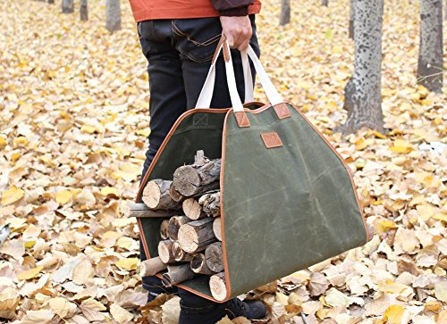 INNO STAGE Canvas Log Carrier Bag,Waxed Durable Wood Tote,Fireplace Stove Accessories,Extra Large Firewood Holder with Handles for Camping Green by INNO STAGE (Image #6)