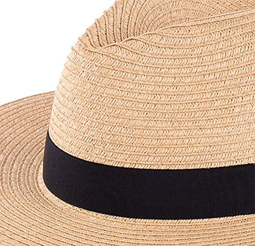 f8e6771554cfc BYOS Summer Classic Straw Panama Fedora Sun Hat In Solid Color W  Black  Grosgrain Band Trim (Nature). Nature