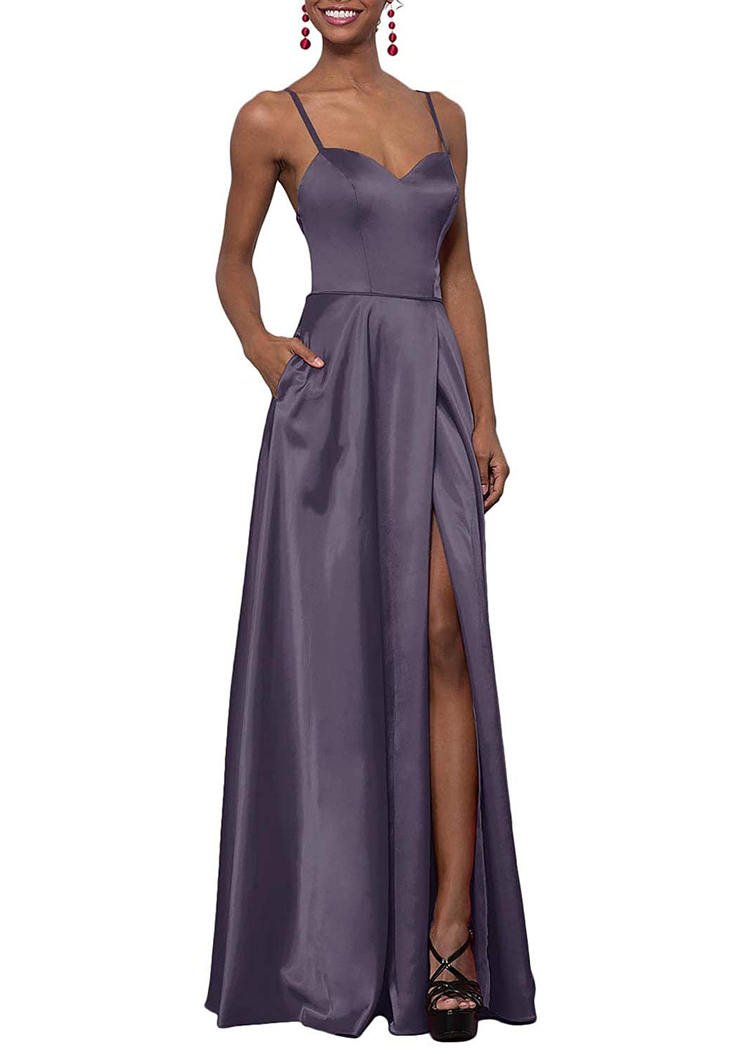 Mulled Grape YUSHENGSM Women's Sweetheart CorsetBack Satin Prom Dress Long Evening Party Gown Pockets