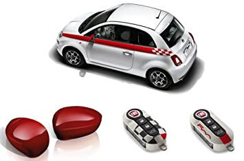Fiat 500 Sport >> Genuine Fiat 500 Red Sport Pack Side Stripes Mirror And