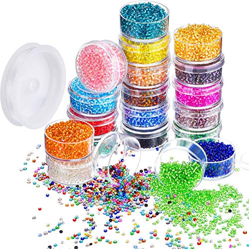(Bememo 16000 Pieces Glass Seed Beads 20 Colors 2 mm Silver Lined Pony Beads Tiny Spacer Beads in Container Box with 18 m Elastic Crystal String Cord)