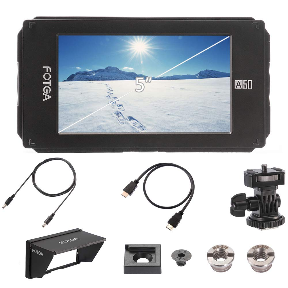 Fotga DP500IIIS A50T 5 Inch FHD IPS Video On-Camera Field Monitor HDMI 4K Input//Output,Dual NP-F Battery Plate for DSLR Mirrorless Cinema Camera 510cd//m2 Touch Screen 1920x1080