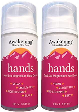 Twin Pack Two 3.38oz 100ml pump bottles Awakening HANDS Magnesium-Rich Hydrating Hand Therapy Cream for Dry, Cracked Skin.