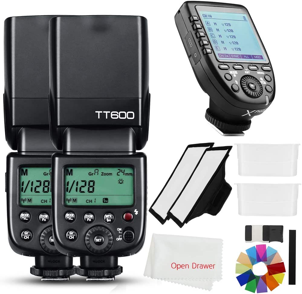 Godox 2X TT600 2.4G HSS Thinklite Camer Flash Speedlite Built in Godox X System Receiver Wireless GN60 Master/Slave Camera with Xpro-N Trigger Transmitter Compatible Nikon Camera