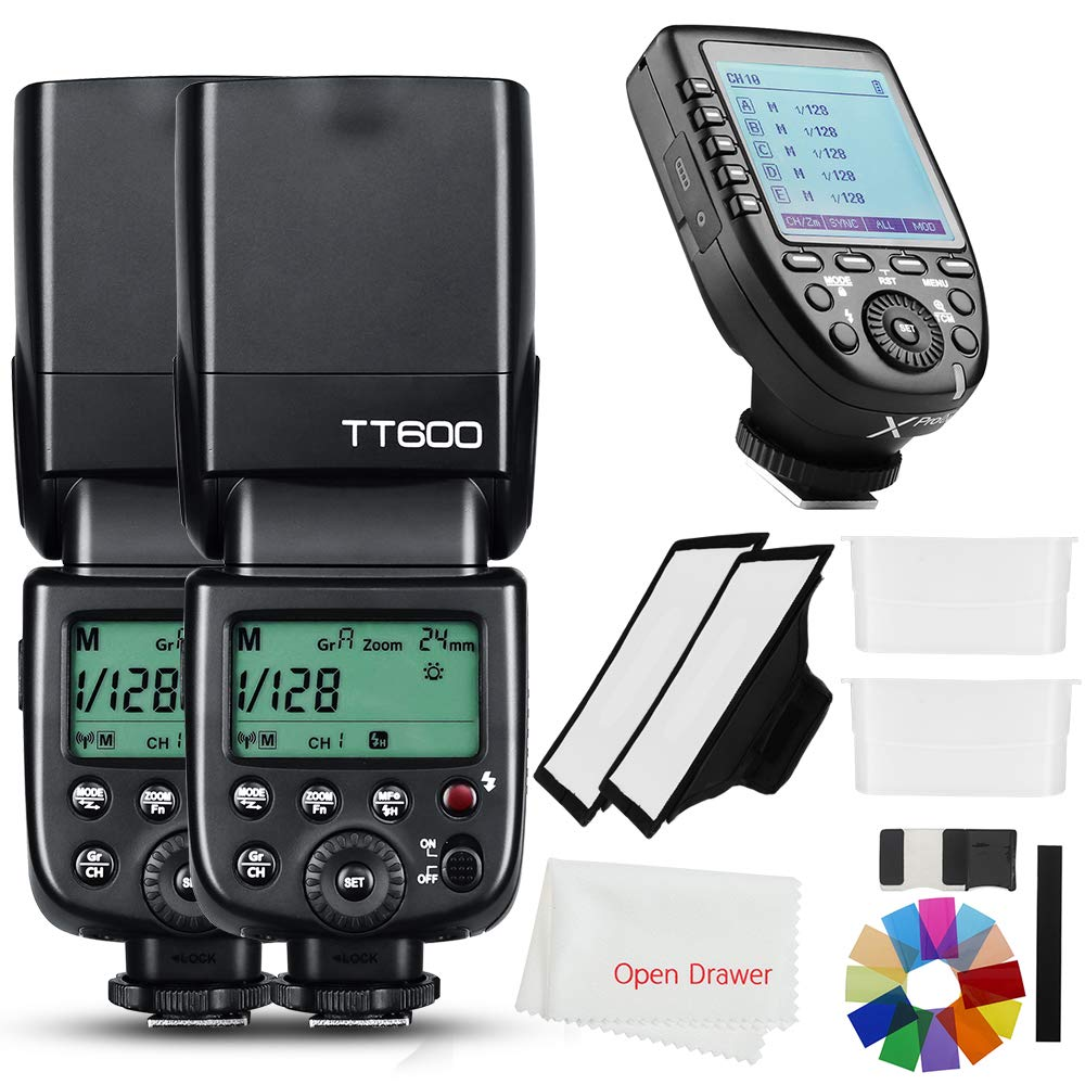 Godox 2X TT600 2.4G HSS Wireless GN60 Master/Slave Camera Thinklite Camer Flash Speedlite Built in Godox X System Receiver with Xpro-C Trigger Transmitter Compatible Canon Camera by Godox