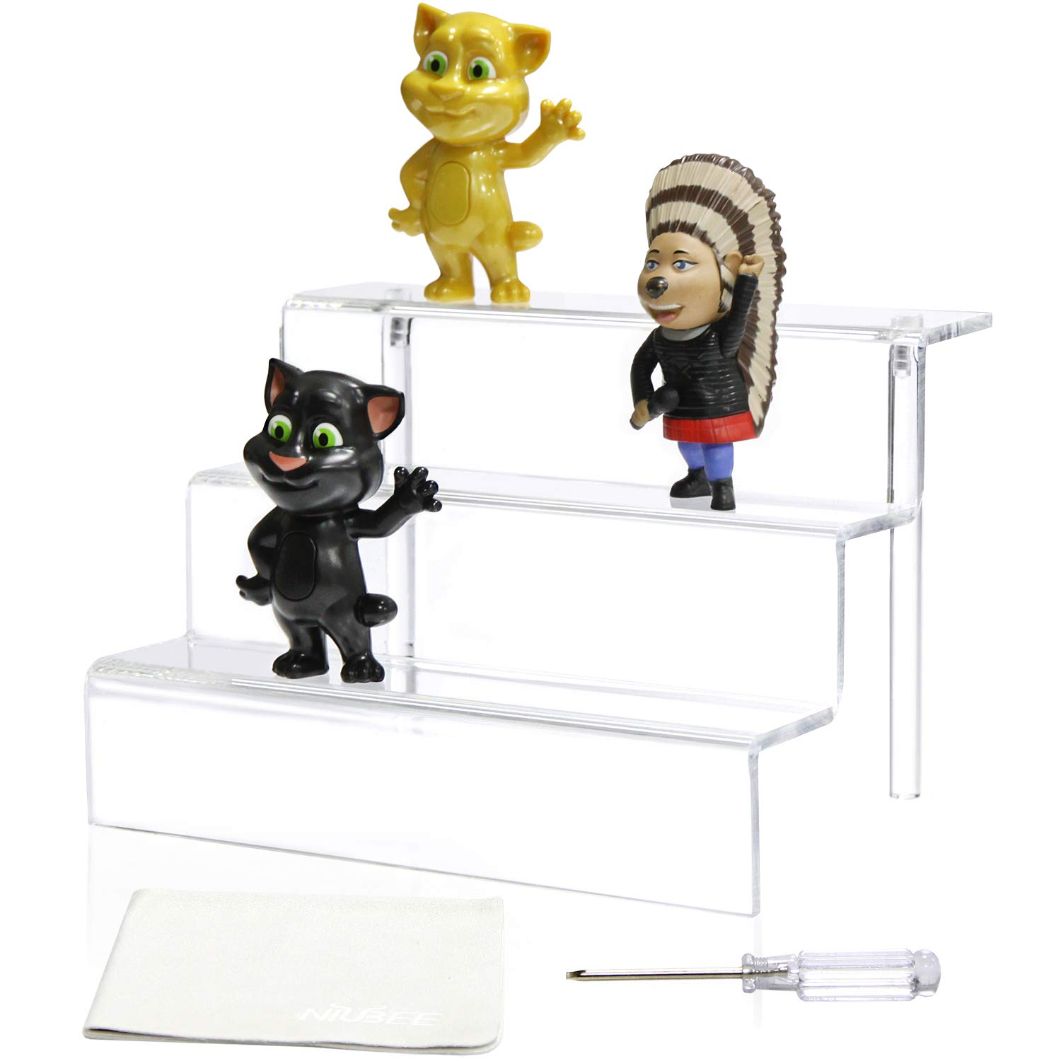NIUBEE Acrylic Riser Display Shelf for Amiibo Funko POP Figures, Cupcakes Stand for Table,Cabinet, Countertops - 3-Tier, Clear (12×8.75'', 3 Pack)
