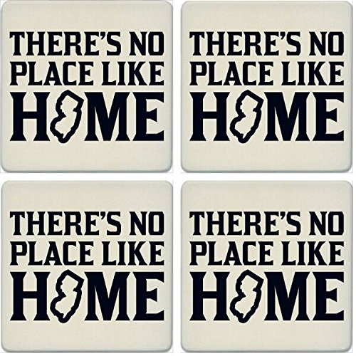 CoasterStone Absorbent Coasters (Set of 4), No Place Like Home New Jersey, 4-1/4''