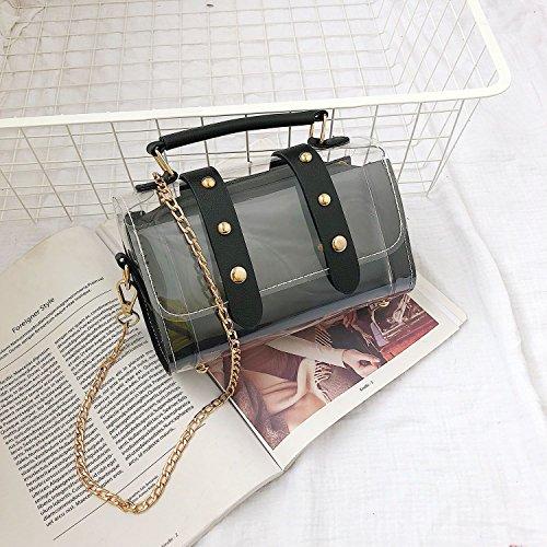 gelee messager Sacs sac de de a rivet Noir TOOGOO en chaine a Rose Sac femelle en Sacs bandouliere de transparent composites mode bandouliere Petit TqRxd4w