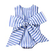 Gaono Baby Girls Sunsuit Outfit Striped Bubble Bodysuit Big Bowknot Romper
