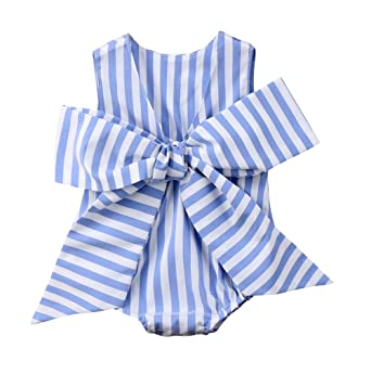 6ac8680efe9 Gaono Baby Girls Sunsuit Outfit Striped Bubble Bodysuit Big Bowknot Romper ( Blue