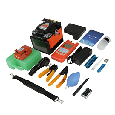 Kit de Empalmadora de fusión de fibra óptica A-80S, 100-240V 50 / 60Hz Soldadura de la máquina de empalme de soldadura de fibra óptica para redes SM ...