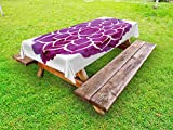 Ambesonne Purple Mandala Outdoor Tablecloth, Watercolor Lotus Flower Yoga Meditation Zen Boho Style Painbrush Artwork, Decorative Washable Picnic Table Cloth, 58 X 84 inches, Fuchsia White