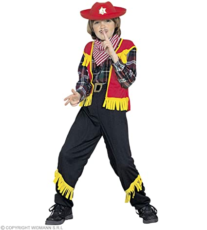 WIDMANN Disfraz niño Vaquero 128 cm (Vest Pants Belt Bandana ...