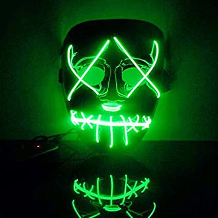 Mascara Halloween LED, Zolimx Adultos el Led Mask de Accesorio para Halloween Cosplay Cartoon Payaso Máscara de Terror para Party Night Club (Verde)