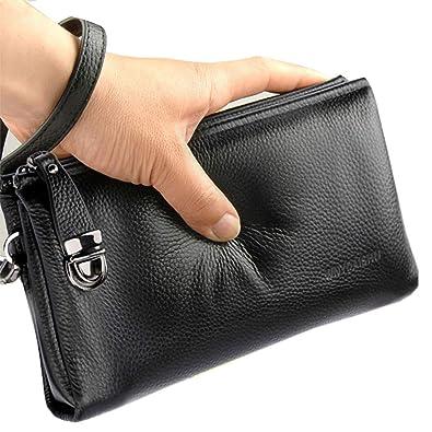 d62d70fe7a Men s Clutch Bag Handbags Genuine Leather Wallets Business Organizer Purse  Rangren