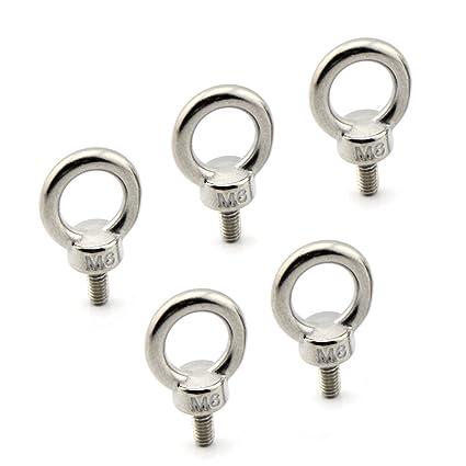 Yasorn 5-pack M6 anillo del ojo del perno inoxidable Tornillo de acero