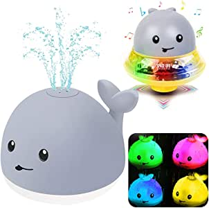 Bath Toys, Bath Toys for Toddlers Water Spray Toys for Kids, Baby Toys Whale Toy Cut Light Up,Bathtub Toys Spray Water Squirt Toy Whale Water Sprinkler Pool Toys for Toddlers