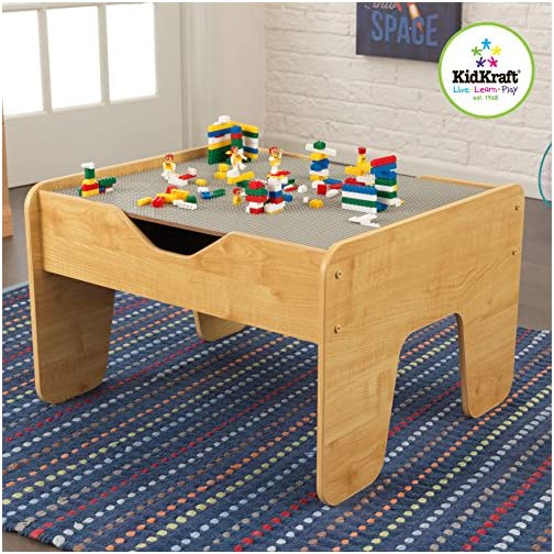 KidKraft 2-in-1 Activity Table with Board, Gray/Natural, 28.5″ x 23.5″ x 3.25″