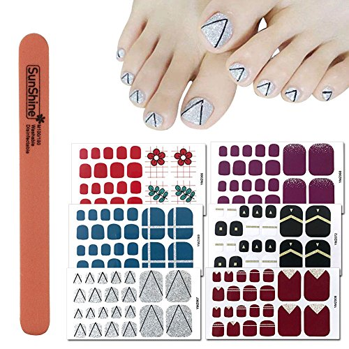 WOKOTO 6 Sheets Self-Adhesive Nail Polish Wraps For Toes And 1Pc Nail File Shinny Solid Silver Stickers Toe Nail Polish Strips For Women Girl Kids