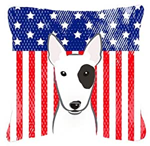"""Caroline's Treasures BB2139PW1818 American Flag And Bull Terrier Fabric Pillow, 18"""" x 18"""", Multicolor"""