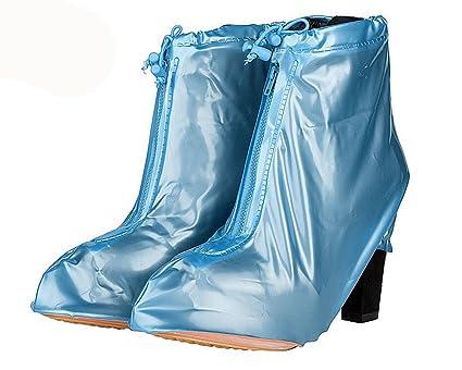 218f9f1c22 Eagsouni Waterproof PVC Reusable High Heel Rain Shoes Cover Boots Overshoes  Non-Slip Zippered Women Girls